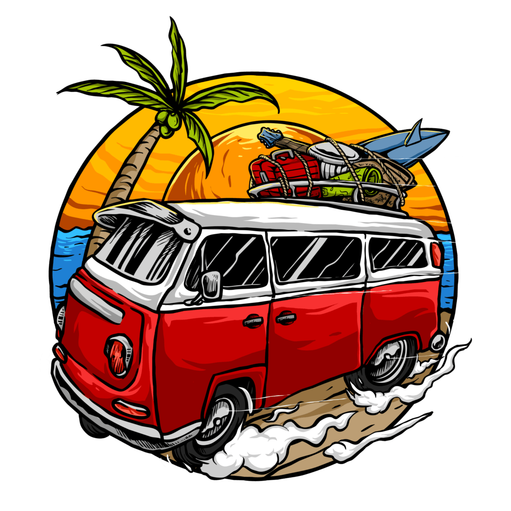 vintage van with sunset